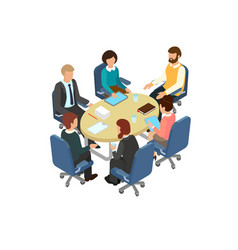 conversation at the round table in the office vector image vector image