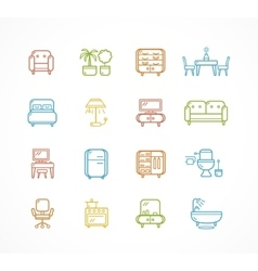 Flat Line Icons Furniture vector image