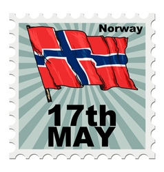 Post stamp of national day of norway vector