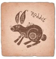 Rabbit Chinese Zodiac Sign Horoscope Vintage Card vector image