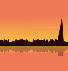 silhouette london city building with reflection vector image