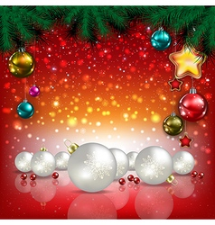 Abstract Christmas red greeting with white vector image