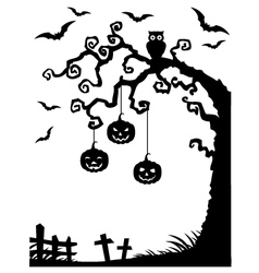 Halloween background with dead tree silhouette vector image