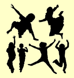Jumping and playing silhouette vector