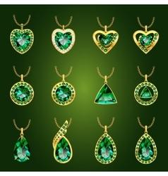 Set of green emerald pendants vector image