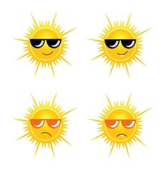 Sun with sunglass vector