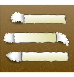 Torn papers on golden background vector image