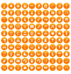 100 happy childhood icons set orange vector