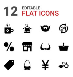 12 shop icons vector image