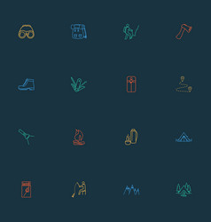 activity icons line style set with fishing vector image