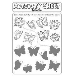 Activity sheet butterflies 1 vector