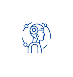 android robot line icon concept android robot vector image