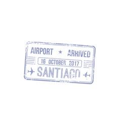Arrival visa stamp santiago airport in brazil vector