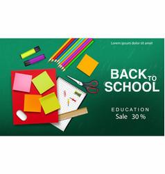 back to school supplies realistic crayons vector image