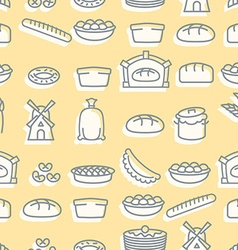 Baking seamless pattern signs set for fresh bakery vector