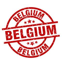 Belgium red round grunge stamp vector