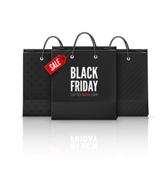 Black friday offer set black bags bag with red vector