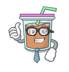 Businessman bubble tea character cartoon vector