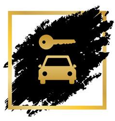 Car key simplistic sign golden icon at vector