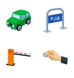 Car parking barrier bicycle parking place coin vector