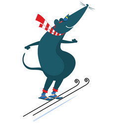 cartoon rat or mouse a ski jumper vector image