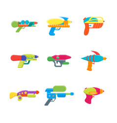Cartoon toy water guns color icons set vector