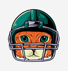cat with helmet american footbal player vector image