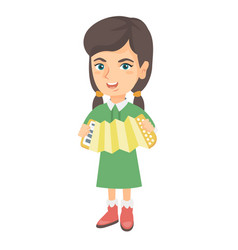 caucasian girl playing the accordion vector image