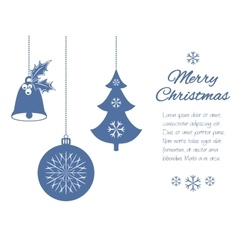 Christmas pendants a bell with holly ball and fir vector
