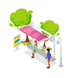city public transport stop isometric 3d icon vector image