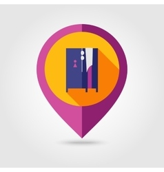 Cloakroom on the beach flat mapping pin icon vector