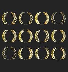 collection different golden laurel wreaths vector image