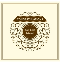 Congratulation for best friend Stylish vector