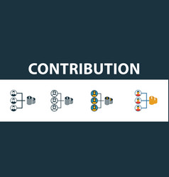 Contribution icon set four elements in diferent vector