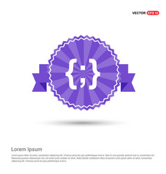 Curly bracket icon - purple ribbon banner vector