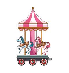 Cute carousel cartoon vector
