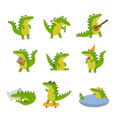 Cute cartoon crocodile in different situations vector