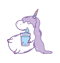cute unicorn with water glass kawaii vector image