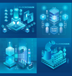 data center cryptocurrency and blockchain vector image