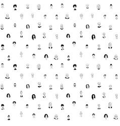 Decorative diverse womens mens head seamless vector
