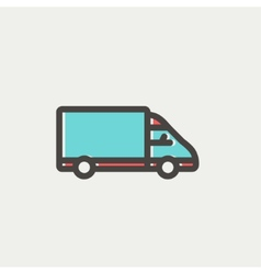 Delivery van thin line icon vector