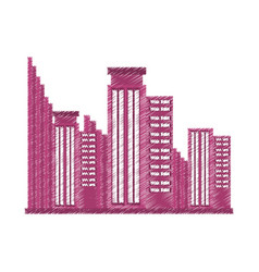 Drawing building business trendy vector