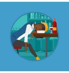 Drunk woman sleeping in bar vector