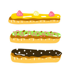 eclair dessert sweet french food vector image