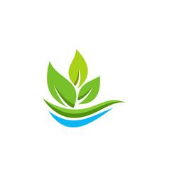Eco leaf organic logo vector