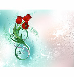 eight with red tulips vector image
