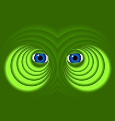 Eyes on a green background vector image