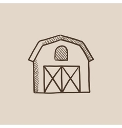 Farm building sketch icon vector