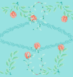Floral set colorful collection with leaves vector