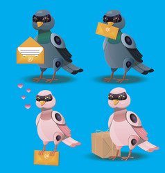 flying bird with postal envelope in mouth vector image